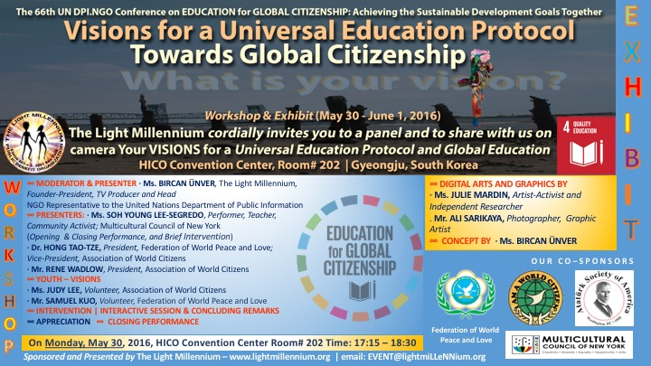 VISIONS FOR A UNIVERSAL EDUCATION PROTOCOL TOWARDS GLOBAL CITIZENSHIP - FLYER