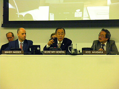 Akasaka, Nasser and Secretary General Ban Ki-Moon