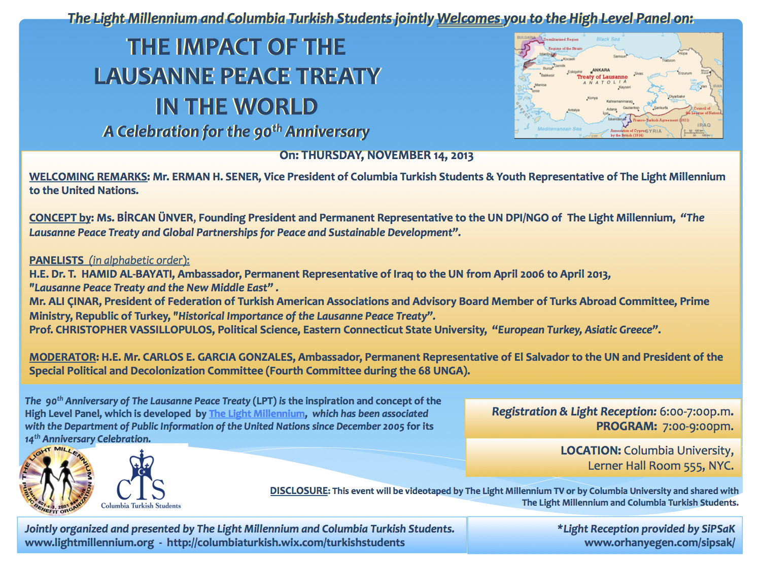 Invite for Nov. 14, 2013 - The Impact of the Lausanne Peace Treaty