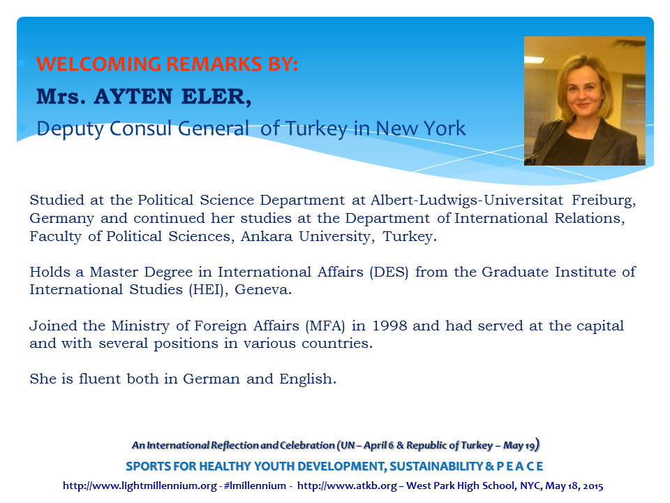 Ayten Eler - Welcoming Remarks with Bio